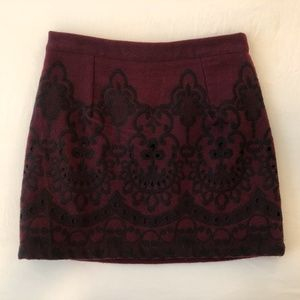 Topshop Maroon Burgundy Embroidered Skirt